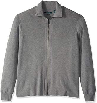 Perry Ellis Men's Big and Tall Solid Ribbed Full-Zip Sweater