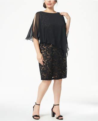 Connected Plus Size Lace & Chiffon Cape Dress