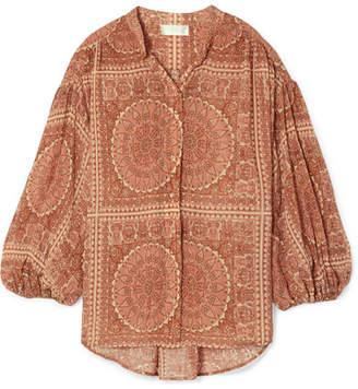 Zimmermann Primrose Printed Cotton And Silk-blend Plissé Shirt - Brick