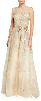 Rickie Freeman For Teri Jon Leaf Pattern Organza Sleeveless A-Line Gown