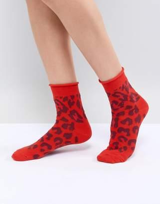 Asos DESIGN Red Leopard Ankle Socks