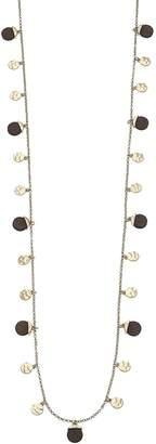 Canvas Goldtone Wood Disc Station Necklace