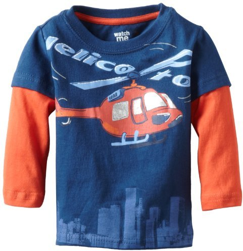 Sesame Street Watch Me Grow Baby-girls Infant Helicopter Mock Twofer Pullover