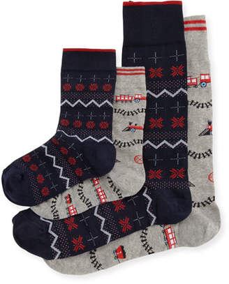 Neiman Marcus Dad & Dude Holiday Socks Cube, Blue
