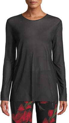 Norma Kamali Long-Sleeve Crew Tee Top