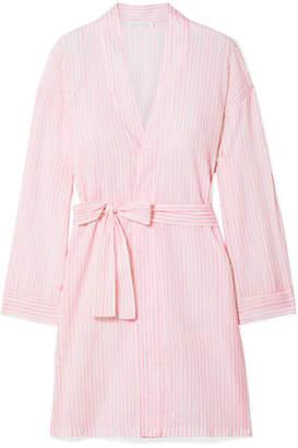 Pour Les Femmes - Striped Cotton-voile Robe - Pink