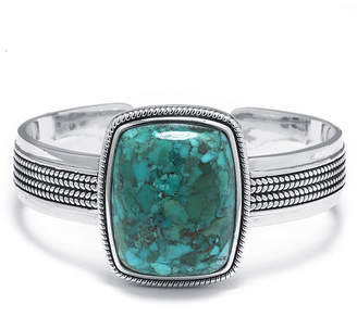 FINE JEWELRY Enhanced Turquoise Sterling Silver Rectangular Cuff Bracelet