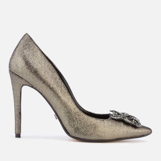 Dune Women's Breanna Suede Court Shoes - Pewter