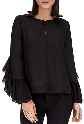 Bobeau B Collection by Jazz Flounce Sleeve Top