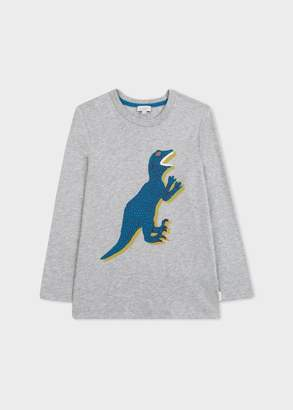 Boys' 8+ Years Grey 'Dino' Long-Sleeve T-Shirt