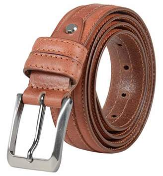 Leather Architect Men's Real Leather Line Stitching Design Belt