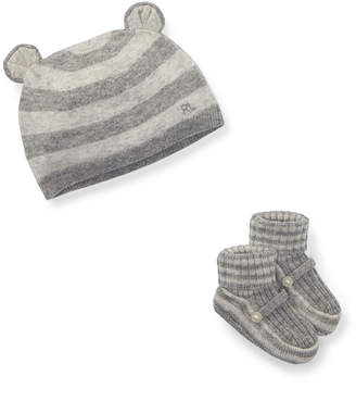Ralph Lauren Childrenswear Bear Baby Hat w/ Rib-Knit Booties, Size Newborn-9M