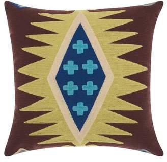 Nourison Wool Chain Stitch Citrine Throw Pillow
