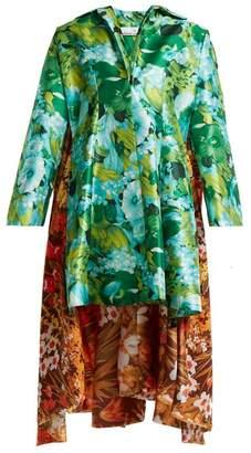 Richard Quinn - Floral Print Asymmetric Hem Duchess Satin Dress - Womens - Green Multi