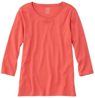 L.L. Bean L.L.Bean Women's Pima Cotton Shaped Tee, Three-Quarter-Sleeve Jewelneck