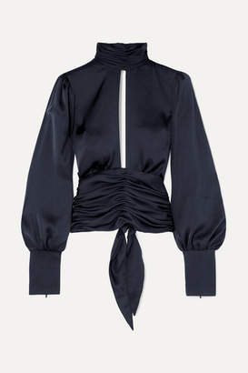 Orseund Iris Night Out Open-back Ruched Satin Blouse - Navy