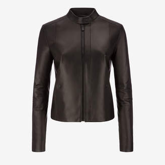 Bally Nappa Café Racer Biker Jacket Black, Women's nappa leather biker jacket in black