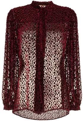 Saint Laurent Tie Neck Silk And Velvet Blouse