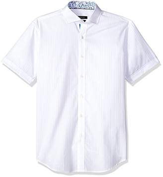 Bugatchi Men's Fitted Short Sleeve Tonal Jacquard Cotton Shirt