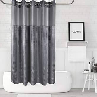 Lagute SnapHook (Hookless) Shower Curtain w/Snap-in Liner | Bathroom Curtain with Removable PEVA Liner [71''x74''] | Translucent See-Through Window