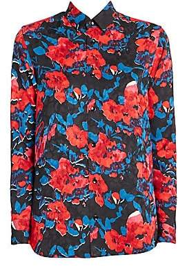 8fe51a728e495 Saint Laurent Women s Peony Print Jacquard Button-Down Shirt