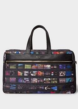 Men s  Mini Film  Print Canvas Weekend Bag 351bb446c4efd
