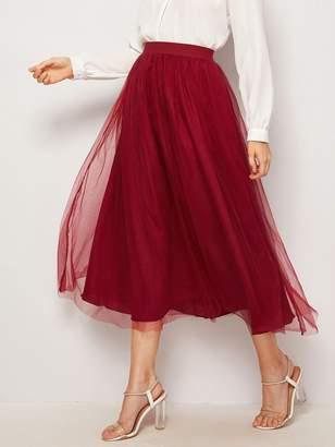 4baeb98ca66 Shein Bow Back Mesh Overlay Skirt