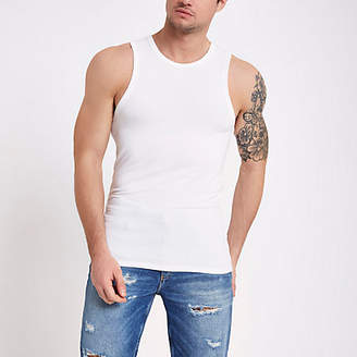 River Island White muscle fit tank top