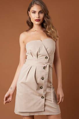 BEIGE Na Kd Trend Tie Waist Paperbag Mini Dress