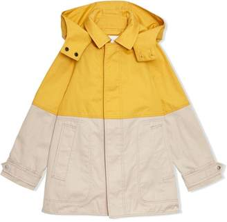 Burberry Detachable Hood Colour Block Cotton Car Coat