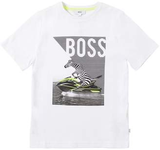 HUGO BOSS Zebra Printed Cotton Jersey T-Shirt