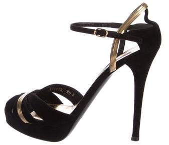 Ralph Lauren Collection Suede Snake-Chain Sandals