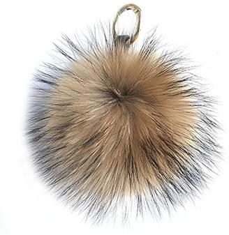 "ONLYFURYOU 6"" Natural Brown Real Raccoon Fur Ball Pompom Bag Charm Keychain"