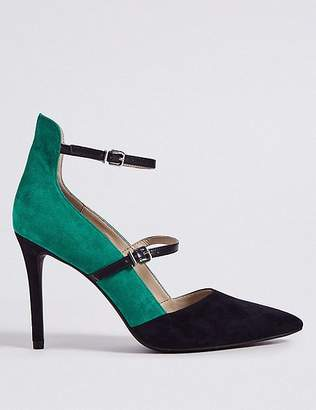 Marks and Spencer Leather Stiletto Heel Strap Court Shoes