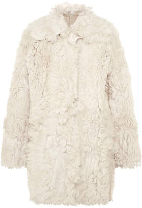 Tory Burch Everly Reversible Shearling Coat - Ivory