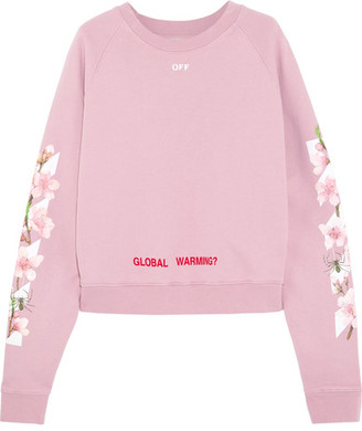 Off-White - Printed Cotton-jersey Sweatshirt - Baby pink $560 thestylecure.com