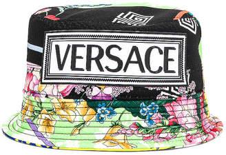 12c94a6d3fbac Versace Logo Print Bucket Hat in Multi