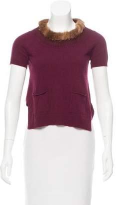 Prada Mink-Trimmed Cashmere Sweater