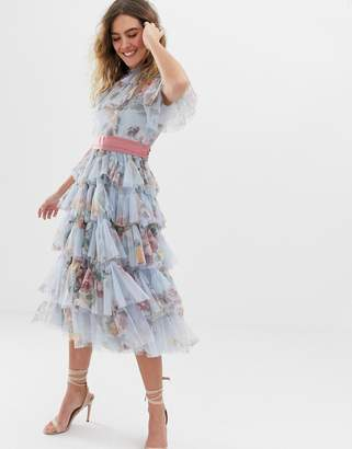 Needle & Thread tulle tiered floral midi dress with waistband in dusk blue