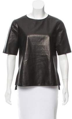 Vince Short Sleeve Leather Top