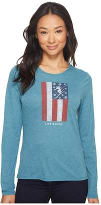 Life is Good Skis And Stripes Long Sleeve Sweet Tee Women's Long Sleeve Pullover