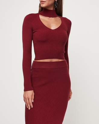 Express Choker V-Neck Ribbed Sweater