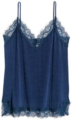 H&M Camisole Top with Lace - Blue