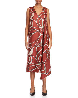 Alysi Brown Printed Silk Maxi Dress