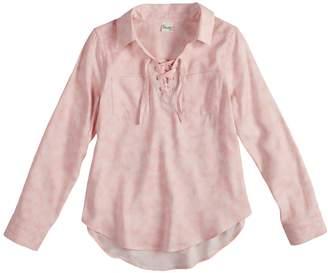 Mudd Girls 7-16 & Plus Size Lace-Up Popover Chambray Shirt