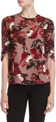 Chelsea & Theodore Floral Elbow Sleeve Blouse