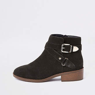 River Island Dark grey suede buckle ankle boots
