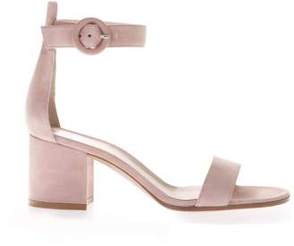 Gianvito Rossi Pink Suede Sandals With 40mm Chunky