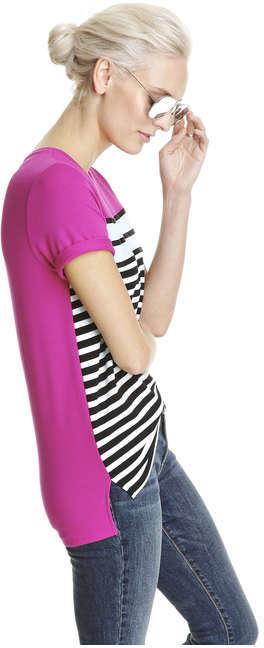 Joe Fresh Women's Stripe Front Tee, Fuchsia (Size L)