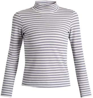 Golden Goose Iman Striped Cotton Blend Jersey T Shirt - Womens - White/blue